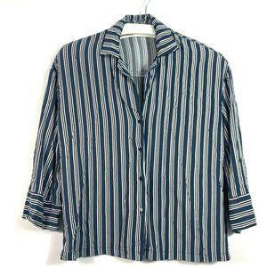 Pull&Bear Womens Button Front Shirt Blue Black